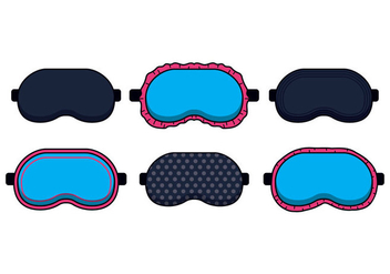 Blue Sleep Mask Vectors - бесплатный vector #420955