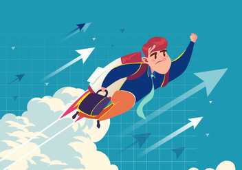 Super Businessman Flying Vector - Free vector #421015