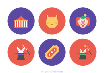 Circus Flat Vector Icons - Free vector #421055