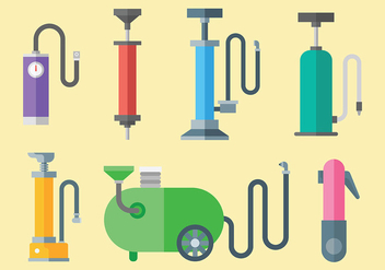 Colorful Air Pump Icons Vector - vector gratuit #421305