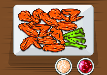 Vector Of Buffalo Wings - vector #421585 gratis