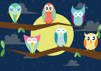 Cute Baby Buho Vectors at Night - Free vector #421655