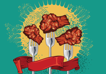 Buffalo Wings & Forks Vector - Free vector #421815