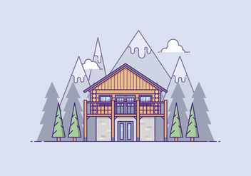 Wooden House In Front Of A Mountain - vector gratuit #421835