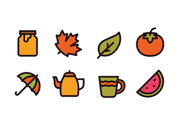 Autumn Season Icons - Free vector #421875