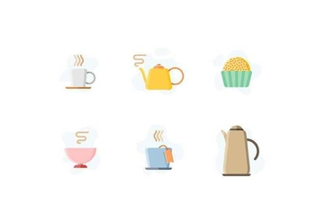 Free Cute Tea Time Objects Vector - vector gratuit #421885