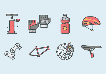 Bicycle Parts And Accessories Icon Pack - vector #421975 gratis