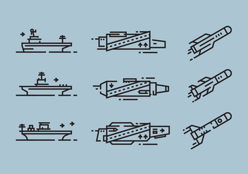 Aircraft Carrier and Missile Linear Icon Vectors - бесплатный vector #421985