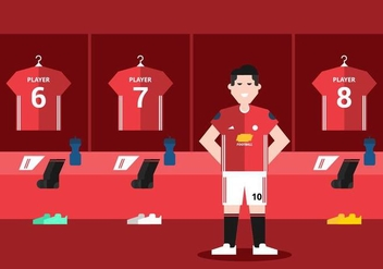 Red Soccer Dressing Room - vector gratuit #421995
