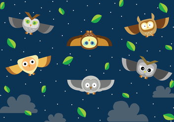 Flying Buho at Night Vector - бесплатный vector #422005