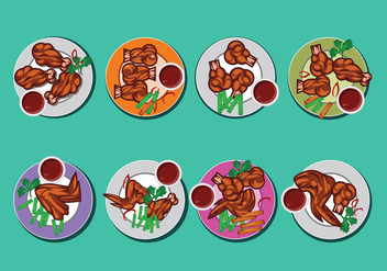 Buffalo Wings Vector Collection on Top View - vector gratuit #422015