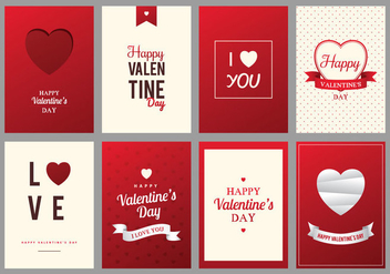 Red and Cream Happy Valentine's Day Card - vector gratuit #422255