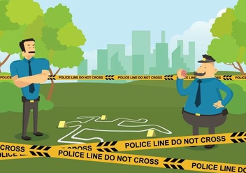 Free Police Line in Crime Scene Illustration - vector gratuit #422275