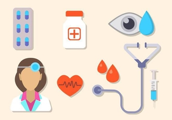 Flat Hospital Elements - vector #422315 gratis