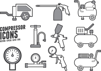 Air Pump and Compressor Accessories Icons - vector #422365 gratis