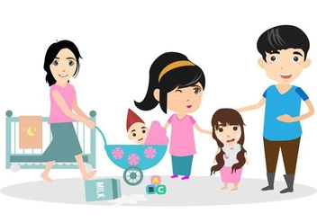 Free Happy Family With Babysitter Illustration - vector gratuit #422535