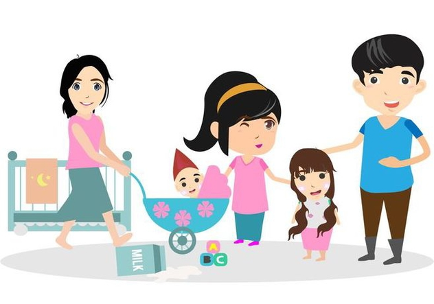 Free Happy Family With Babysitter Illustration - Free vector #422535