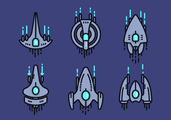Starship Linear Vector Icon Sets - Kostenloses vector #422545