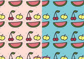Cartoon Fruit Pattern Vector - Free vector #422795