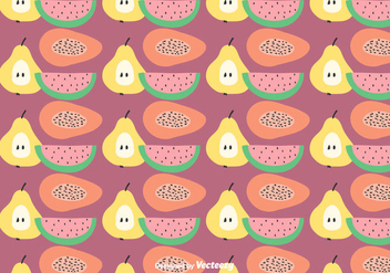 Flat Fruit Pattern Vector - Free vector #422805