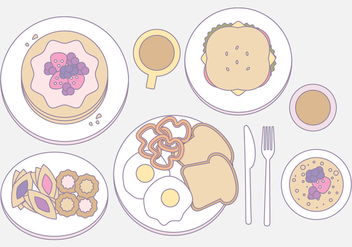 Vector Outlined Illustration of Breakfast Essentials - Free vector #423095