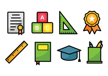 Education Icon Set - vector gratuit #423175