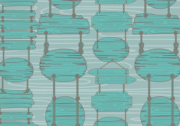 Teal Wood Sign Madeira Pattern Vector - Free vector #423235