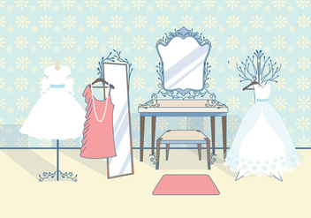 Vintage Bridal Dressing Room Vector - Free vector #423245