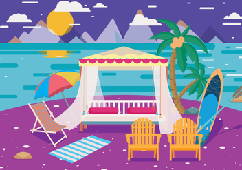 Cabana Night View Vector - бесплатный vector #423265
