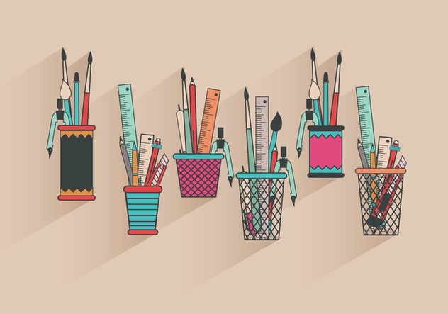 Fun Colorful Pen Holder Vectors - бесплатный vector #423275