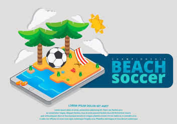 Beach Soccer Isometric Illustration - Free vector #423305