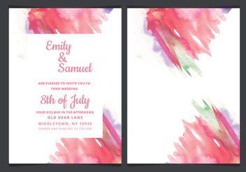Vector Wedding Invitation with Watercolor Accents - бесплатный vector #423325