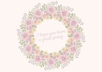 Vector Watercolor Roses Wreath - vector gratuit #423335