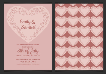 Vector Wedding Invitation with Delicate Heart - vector gratuit #423375