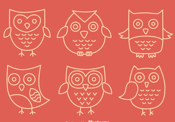 Hand Drawn Cute Owl Vectors - vector gratuit #423385