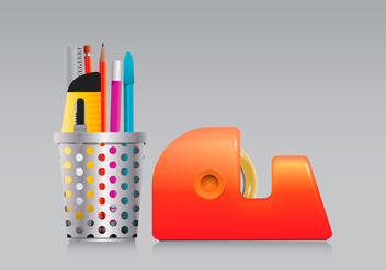 Pen Holder and Tape Set in Realist Style - vector gratuit #423445