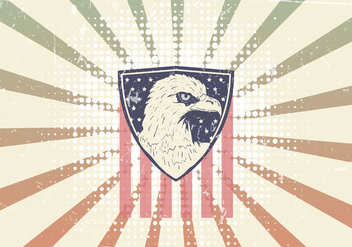 American Eagle Seal With American Flag - Free vector #423575
