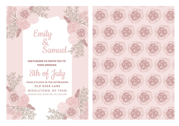 Vector Wedding Invitation with Delicate Roses - vector gratuit #423615