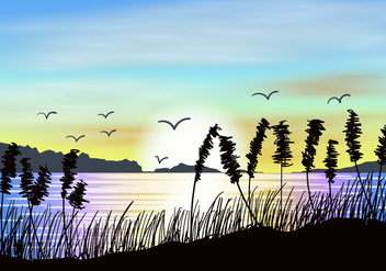 Sea Oats Sunset View - vector gratuit #423625
