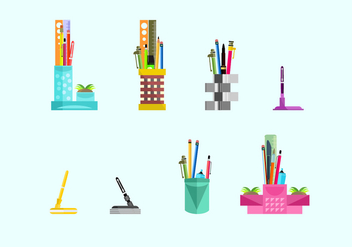 Cute Pen Holder Free Vector - vector #423665 gratis