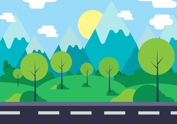 Free Vector Landscape Illustration - Free vector #423765