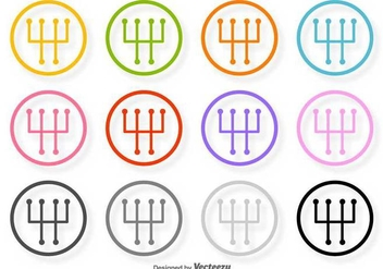 Gear Shift Vector Line Icons - Free vector #423885