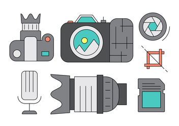 Colorful Photography Icons and Elements in Vector - Free vector #423985