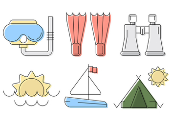 Vector Beach and Travel Illustration Set - бесплатный vector #424025