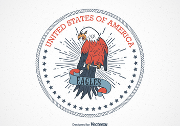 Retro USA Eagle Seal Vector - Free vector #424085