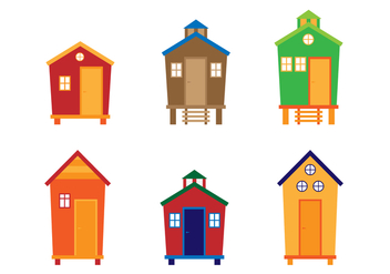 Flat Colorful Cabana Vectors - бесплатный vector #424135