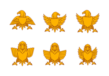 Yellow Flat Eagle Seal Vectors - Free vector #424145