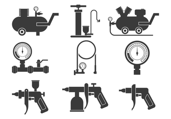 Air Pump Icons Set - vector gratuit #424305