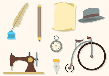 Flat Vintage Stuff Collections - vector gratuit #424315