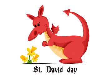 Cute Red Dragon Saint David's Day With Yellow Flower - Free vector #424345